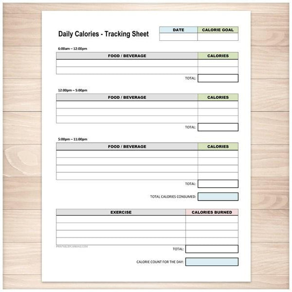 daily calories and exercise tracking sheet
