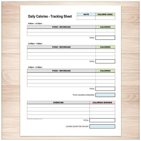 Daily Calories and Exercise Tracking Sheet - Printable Planning