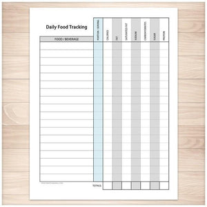 Daily Food Content Tracking Sheet - Printable, at Printable Planning