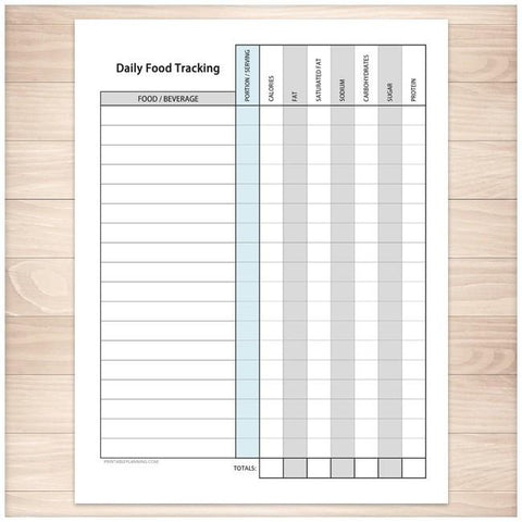 daily food content tracking sheet printable at printable planning