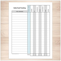 Daily Food Content Tracking Sheet - Printable Planning