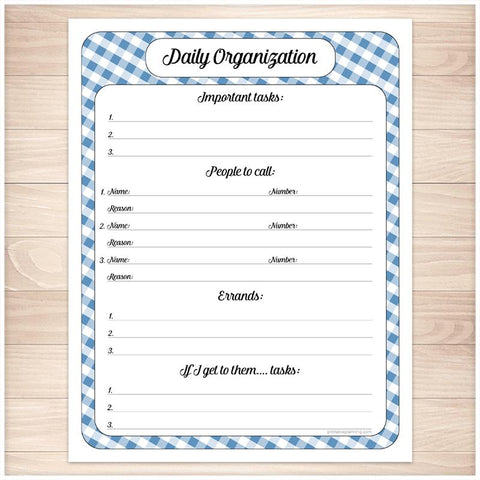 Blue Gingham Daily Organization Category Task Sheet - Printable