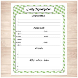 Green Gingham Daily Organization Category Task Sheet - Printable