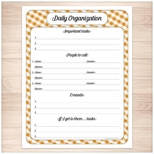 Orange Gingham Daily Organization Category Task Sheet - Printable