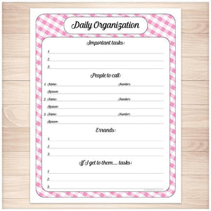 Pink Gingham Daily Organization Category Task Sheet - Printable