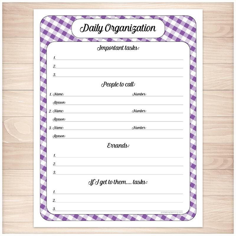 Purple Gingham Daily Organization Category Task Sheet - Printable
