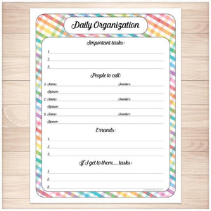 Rainbow Gingham Daily Organization Category Task Sheet - Printable