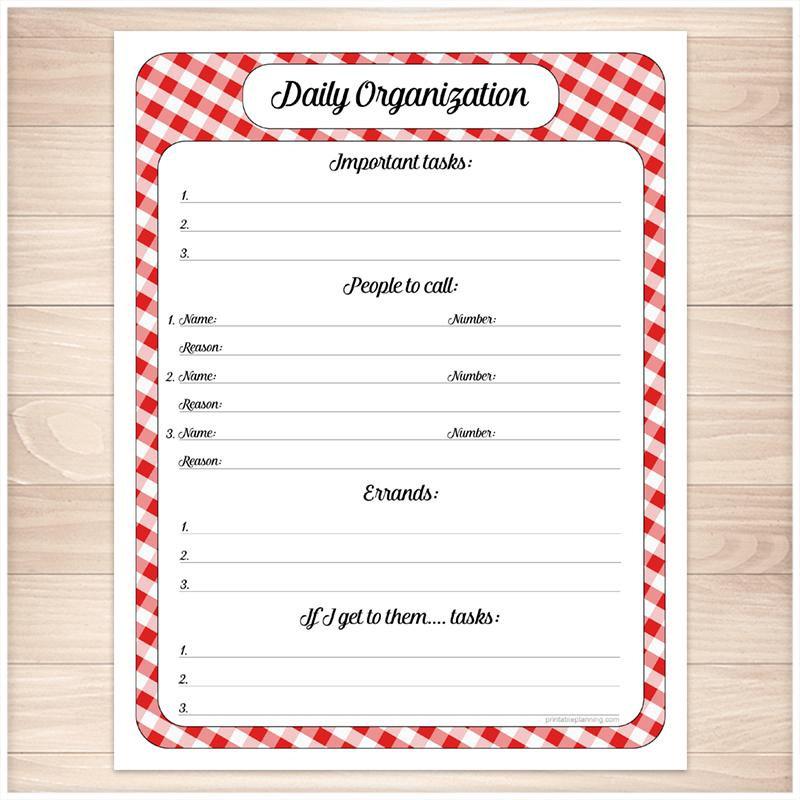 Red Gingham Daily Organization Category Task Sheet - Printable