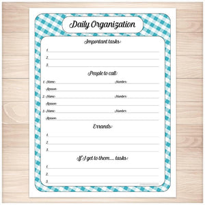 Turquoise Gingham Daily Organization Category Task Sheet - Printable