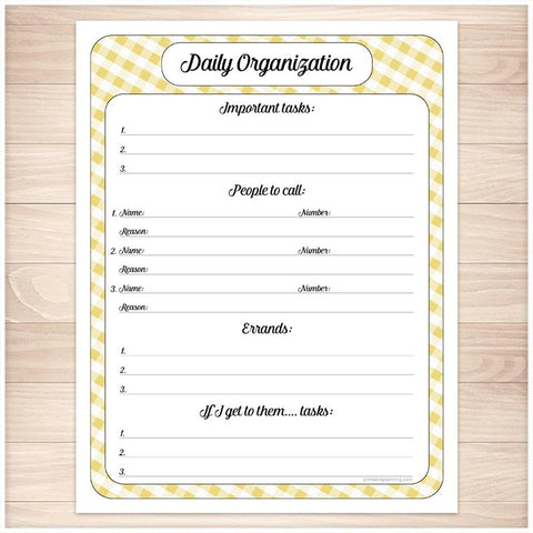 Yellow Gingham Daily Organization Category Task Sheet - Printable