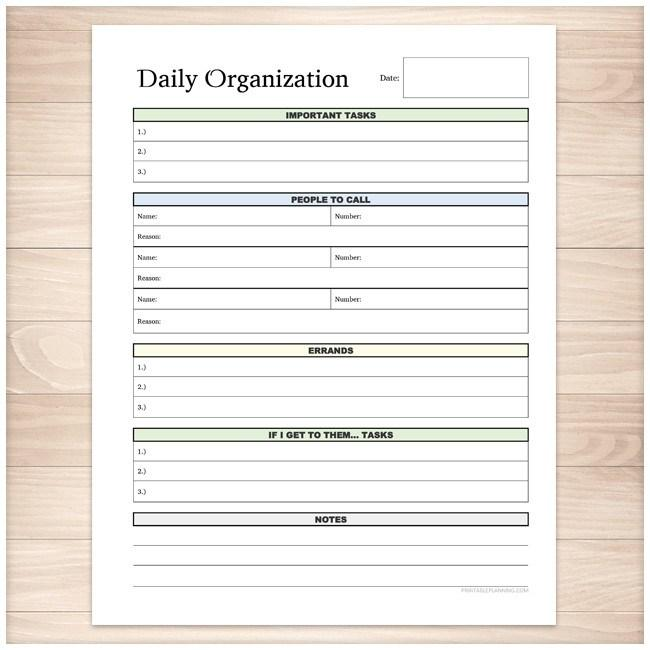 Great Daily Organization Category Task Sheet   Printable Planning  Daily Task Sheet