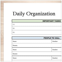 Daily Organization Category Task Sheet - Printable Planning - ZOOM