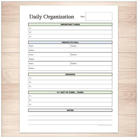 Daily Organization Category Task Sheet - Printable Planning