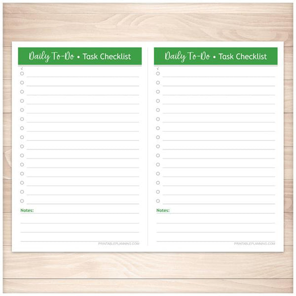 Daily To-Do Lists - 2 Per Page - Task Checklists BUNDLE in 4 Bold Colors - Printable, at Printable Planning