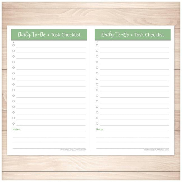 Daily To-Do Lists - 2 Per Page - Task Checklists BUNDLE in 4 Colors - Printable, at Printable Planning