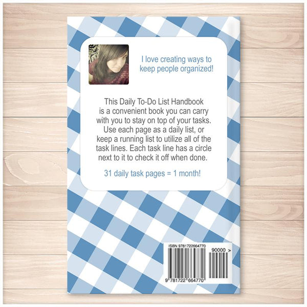 Daily To-Do List Handbook: Portable List for On-the-Go People (Published Book) - Blue Gingham BACK COVER