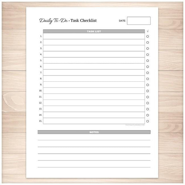 Daily To-Do List - Task Checklist - Printable Planning