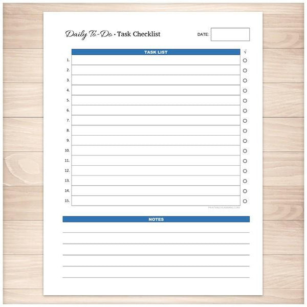 Daily To-Do List - Blue Task Checklist - Printable Planning
