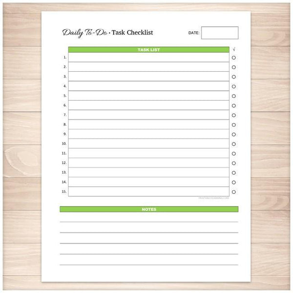 Daily To-Do List - Green Task Checklist - Printable Planning
