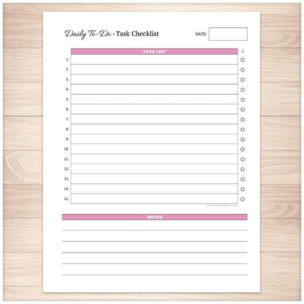 Daily To-Do List - Pink Task Checklist - Printable Planning