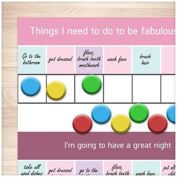 Daytime Nighttime Tasks Children's Chore Charts example - Printable Planning