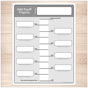 Debt Payoff Progress Bar Worksheets in Gray - Printable