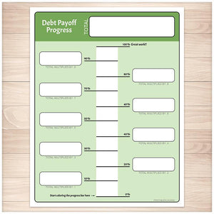 Debt Payoff Progress Bar Worksheets in Green - Printable