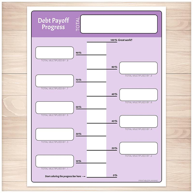 Debt Payoff Progress Bar Worksheets in Purple - Printable
