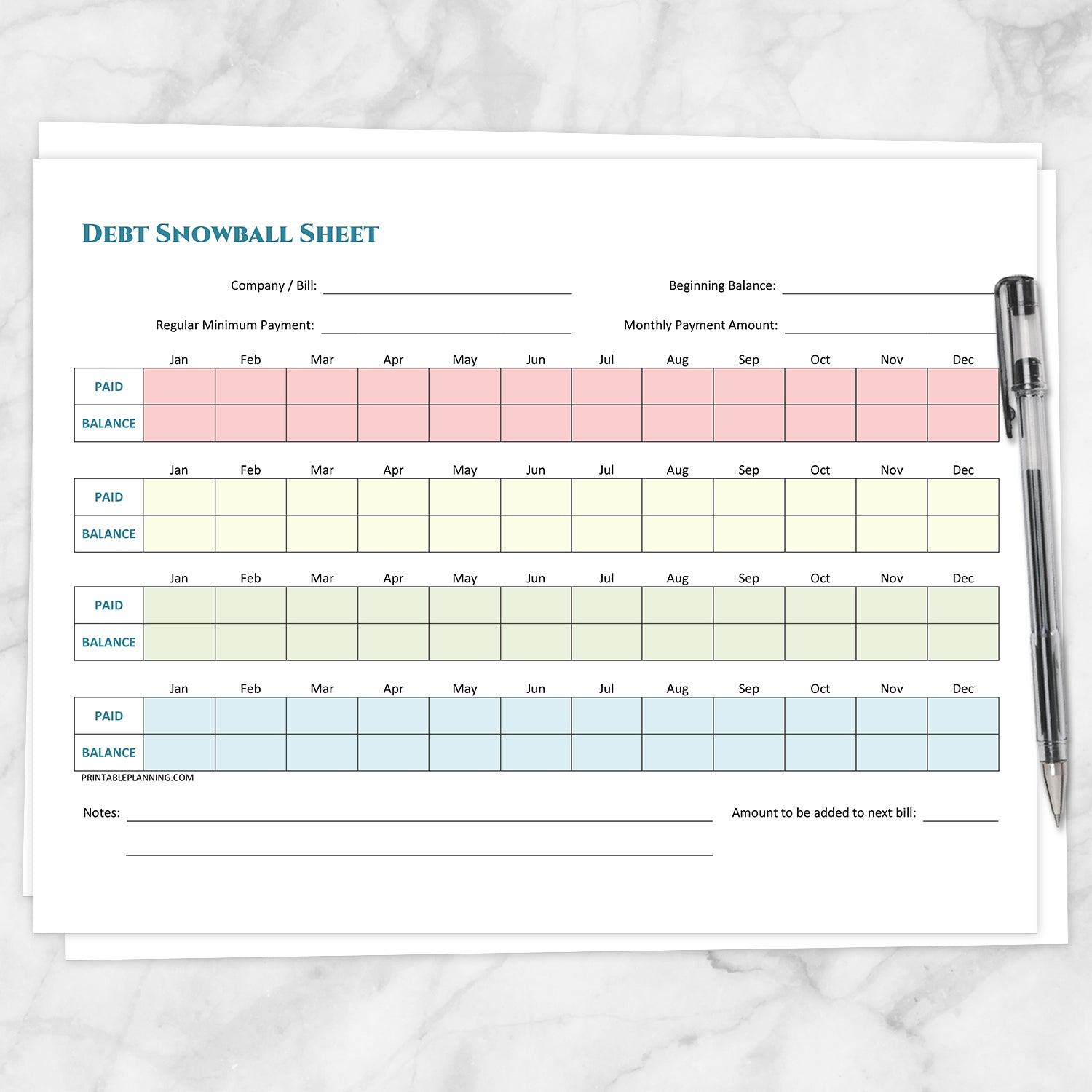 image relating to Debt Snowball Printable called Credit card debt Snowball Sheet and Financial debt Payoff Program - Printable Offer at Printable Building for simply 5.00