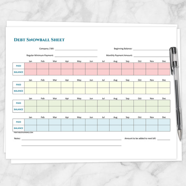 Printable Debt Snowball Sheet, Debt Payoff Plan, and Bill Payment Tracker Log - BUNDLE at Printable Planning