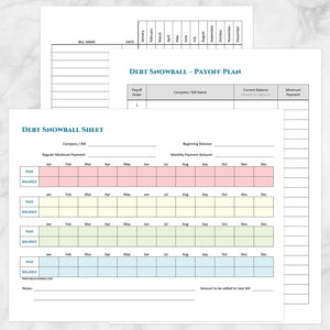 image regarding Printable Bill Tracker called Personal debt Snowball Sheet, Personal debt Payoff Program, and Invoice Rate
