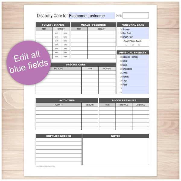 Printable Disability Care, Daily Care Sheet at Printable Planning