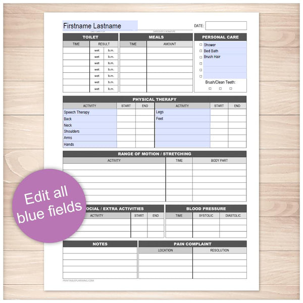 Printable Disability with Physical Therapy Daily Care Sheet at Printable Planning