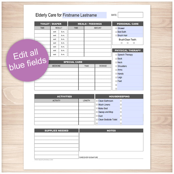 Printable Elderly Care, Daily Care Sheet with Housekeeping at Printable Planning