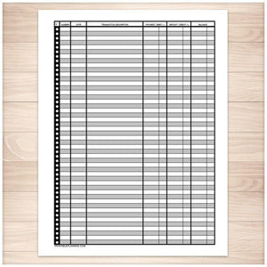 Financial Transaction Register - Full Page - Printable, at Printable Planning