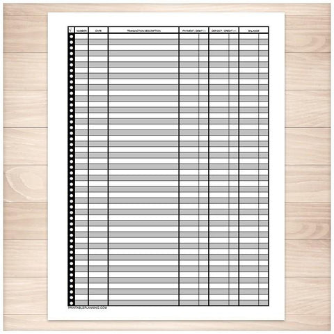 Financial Transaction Register - Full Page - Printable Planning