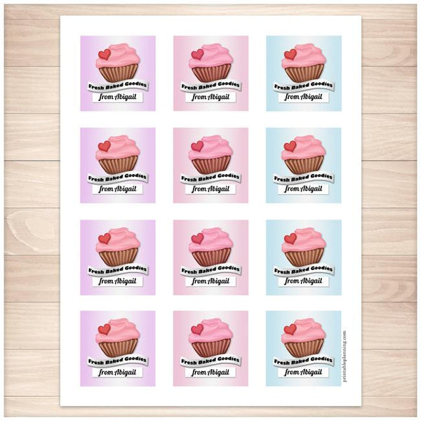 Personalized Cupcake 'Fresh Baked Goodies' Baking Stickers FULLE PAGE - Printable Planning