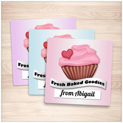 Personalized Cupcake 'Fresh Baked Goodies' Baking Stickers - Printable Planning