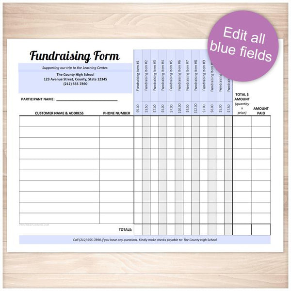 Printable Fundraising Form, 12 Item Columns at Printable Planning