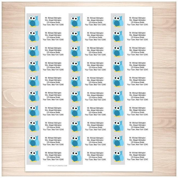 Funny Cute Blue Owl Address Labels 30up - Printable Planning