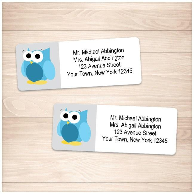 funny cute blue owl address labels printable at printable planning