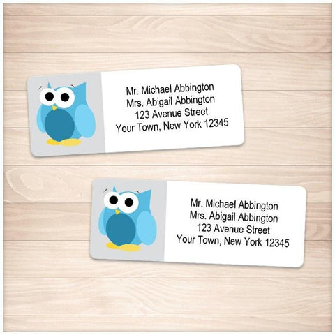 Funny Cute Blue Owl Address Labels - Printable Planning