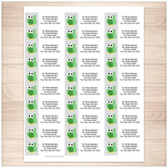 Funny Cute Green Owl Address Labels 30up - Printable Planning