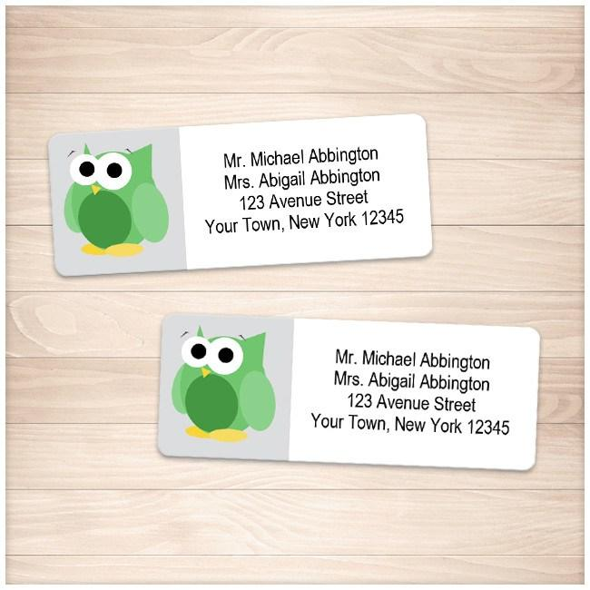 Funny Cute Green Owl Address Labels - Printable Planning