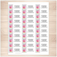 Funny Cute Pink Owl Address Labels 30up - Printable Planning