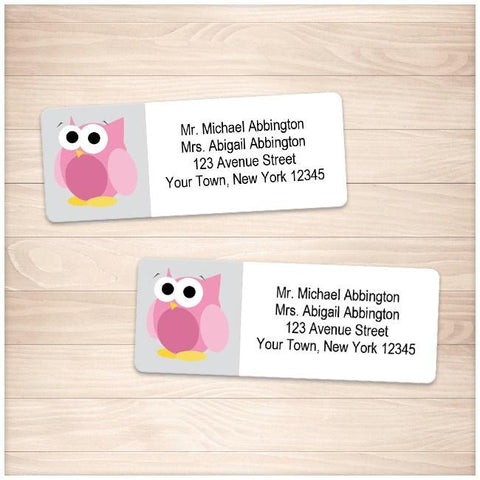 Funny Cute Pink Owl Address Labels - Printable Planning