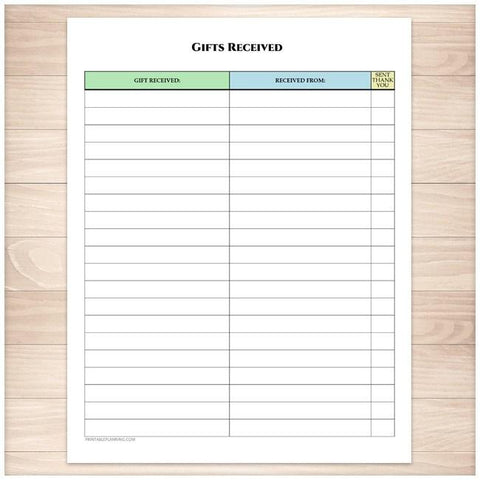 Gifts Received List - Occasion Organizer - Printable, at Printable Planning