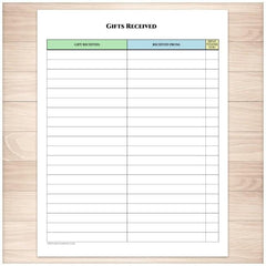 Gifts Received List - Occasion Organizer - Printable Planning