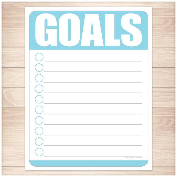 Goals - Blue Full Page and Half Page Checklists - Printable, at Printable Planning