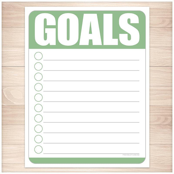 Goals - Green Full Page and Half Page Checklists - Printable, at Printable Planning
